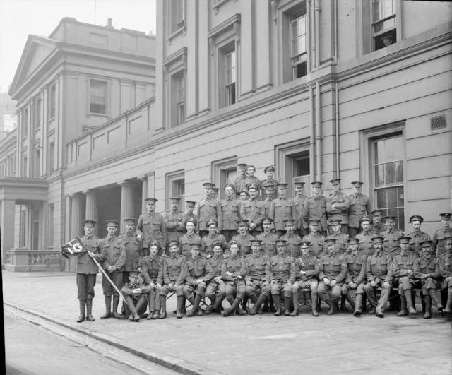 Irish Guards at Wellington Barracks in 1914  (Could Leonard be one of these men ?)